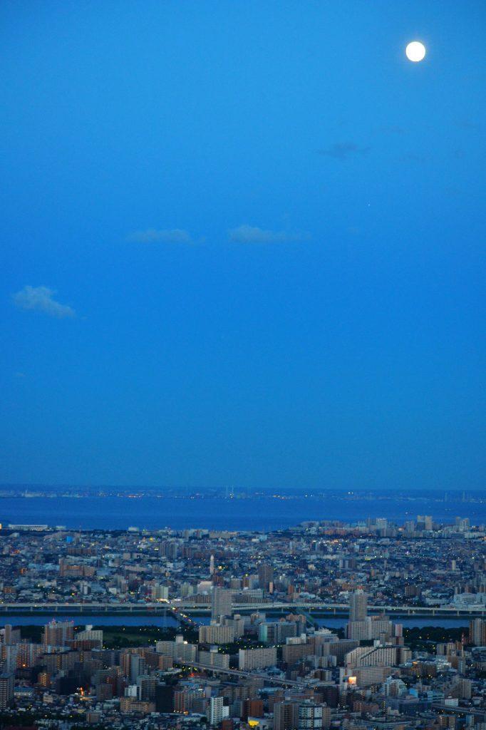 Vue de Tokyo sous la pleine lune