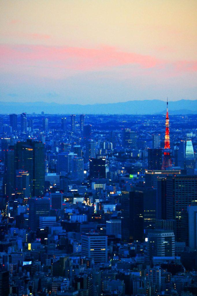 Tokyo et sa réplique de la tour Eiffel rouge et blanche