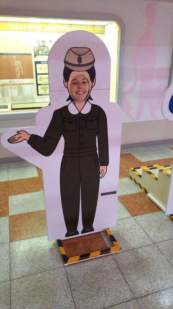Claire au musée du métro de Kasai