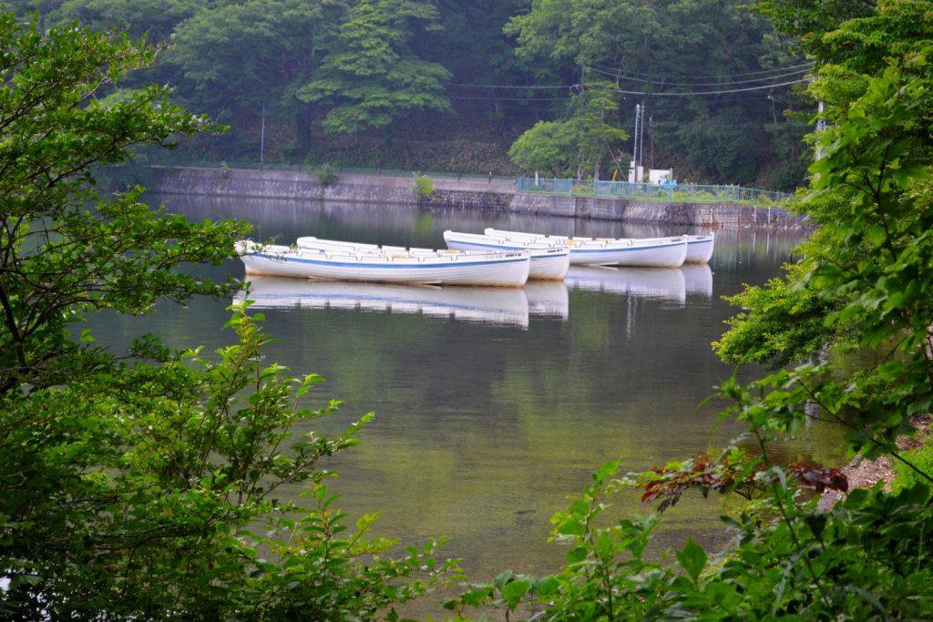 Des bateaux sur le lac Onuma