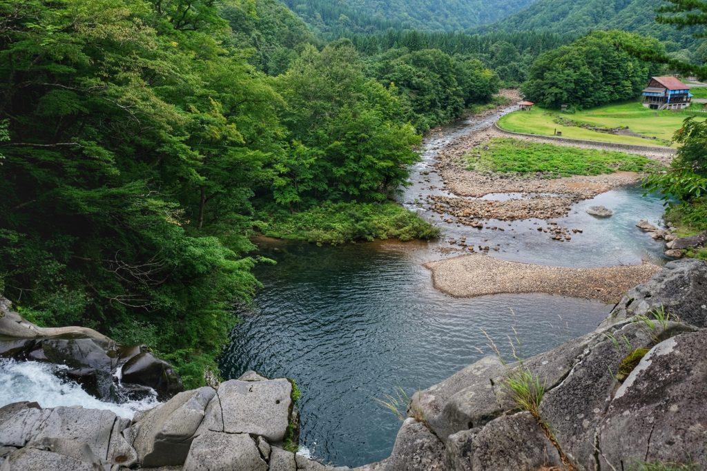 Le camping vue des cascades