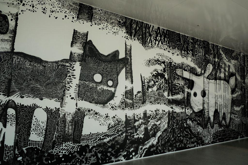 Une peinture murale du musée du XXIe siècle de Kanazawa