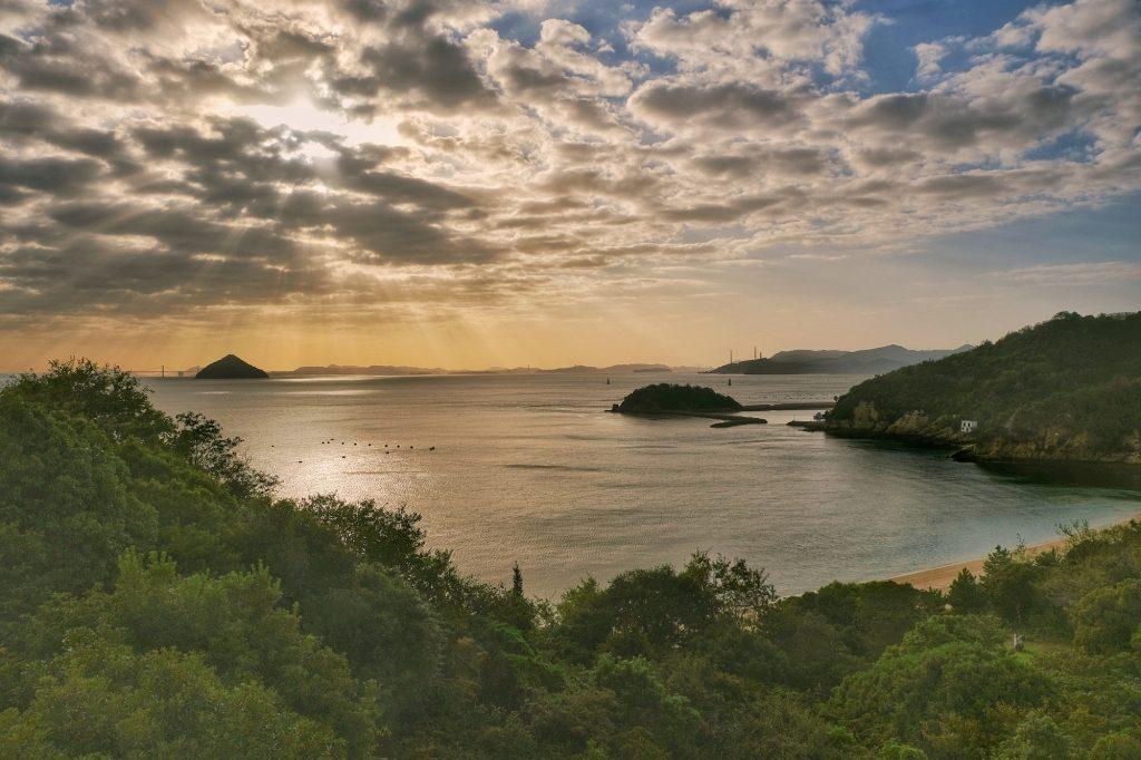 Vue de la mer depuis la Benesse House de Naoshima