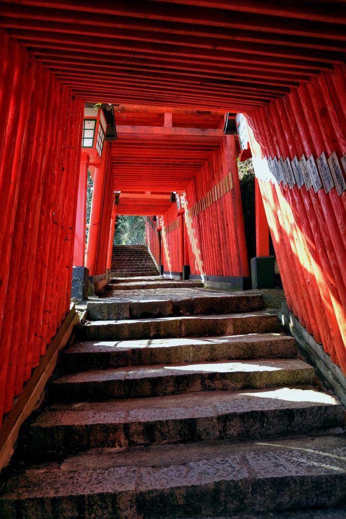 Allée de toriis menant au Taikodani Inari Jinja