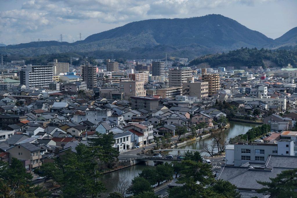 Vue de la ville de Matsue depuis son château