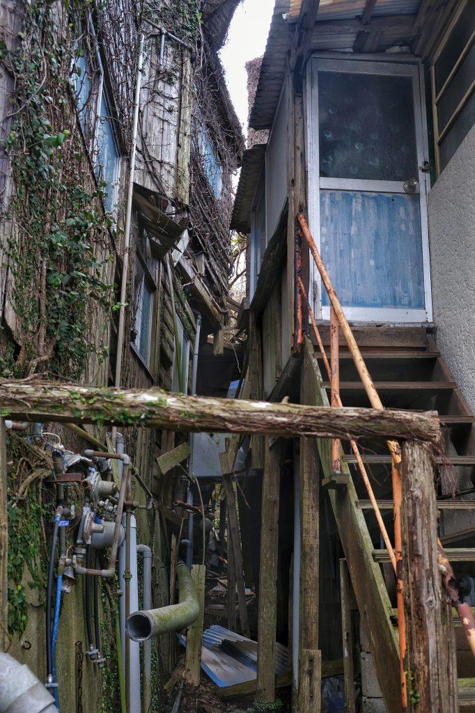 La végétation revient sur les bâtiments d'Ikeshima