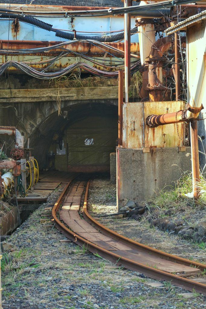 Entrée du train touristique vers la mine de l'île d'Ikeshima