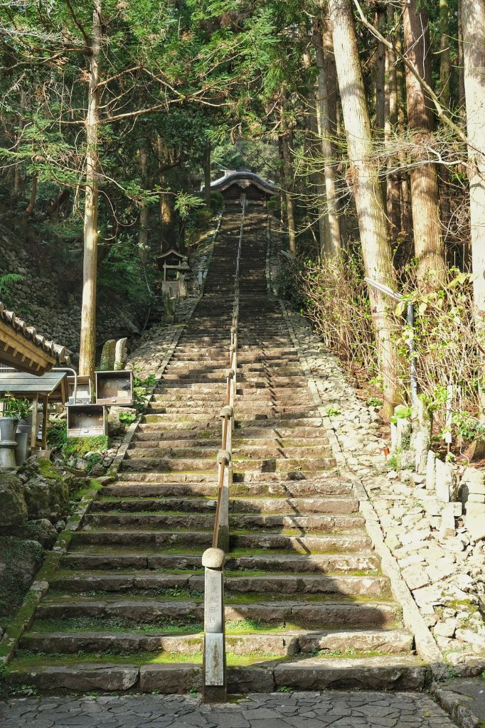Les escaliers amenant vers le temple Shoryuji