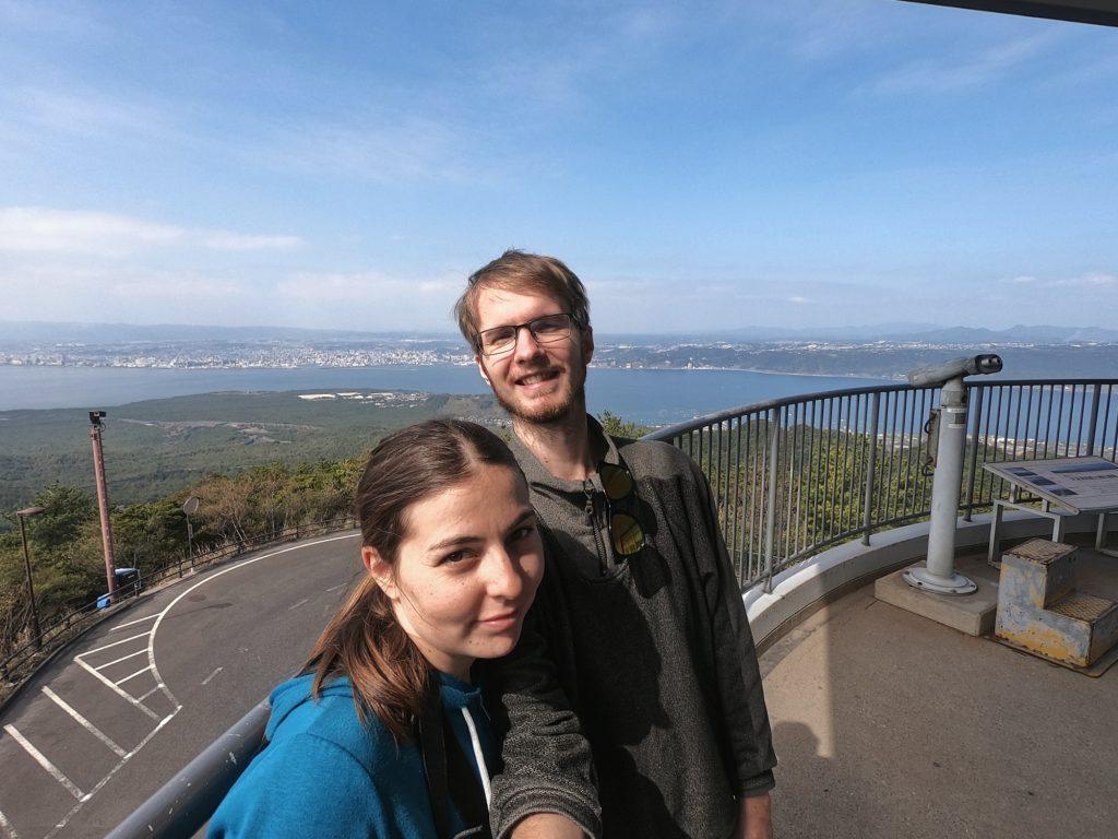 Selfie devant la ville de Kagoshima