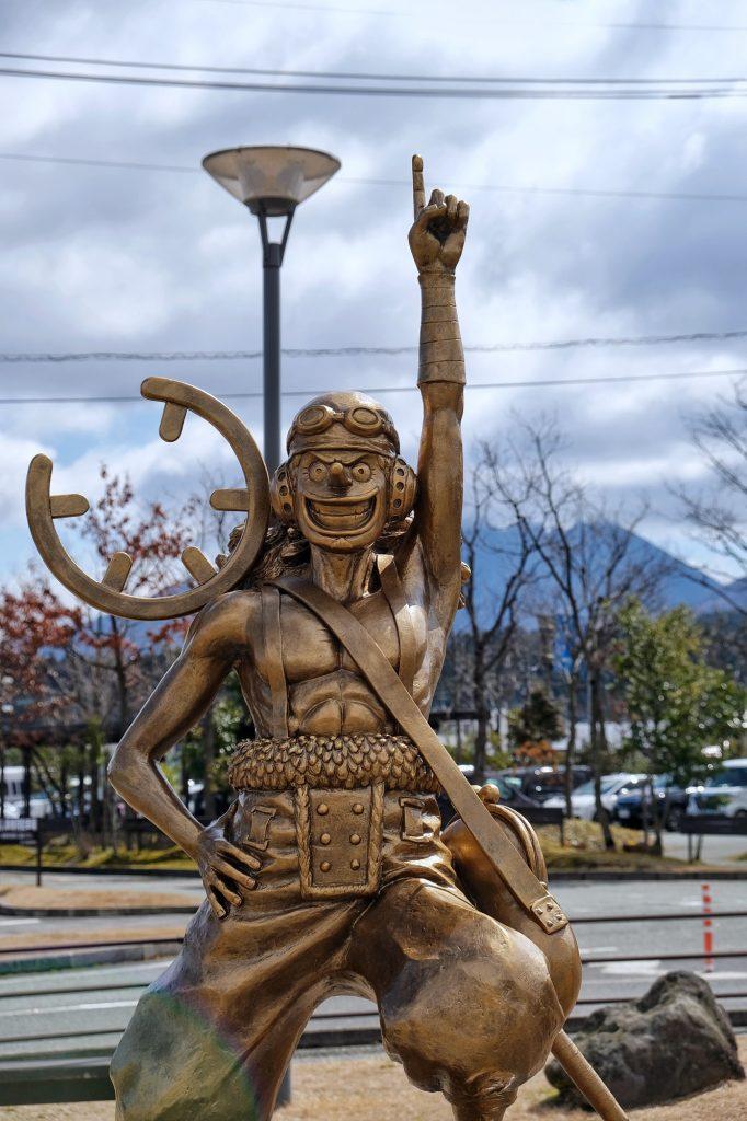 Statue d'Usopp, de One Piece, à Aso