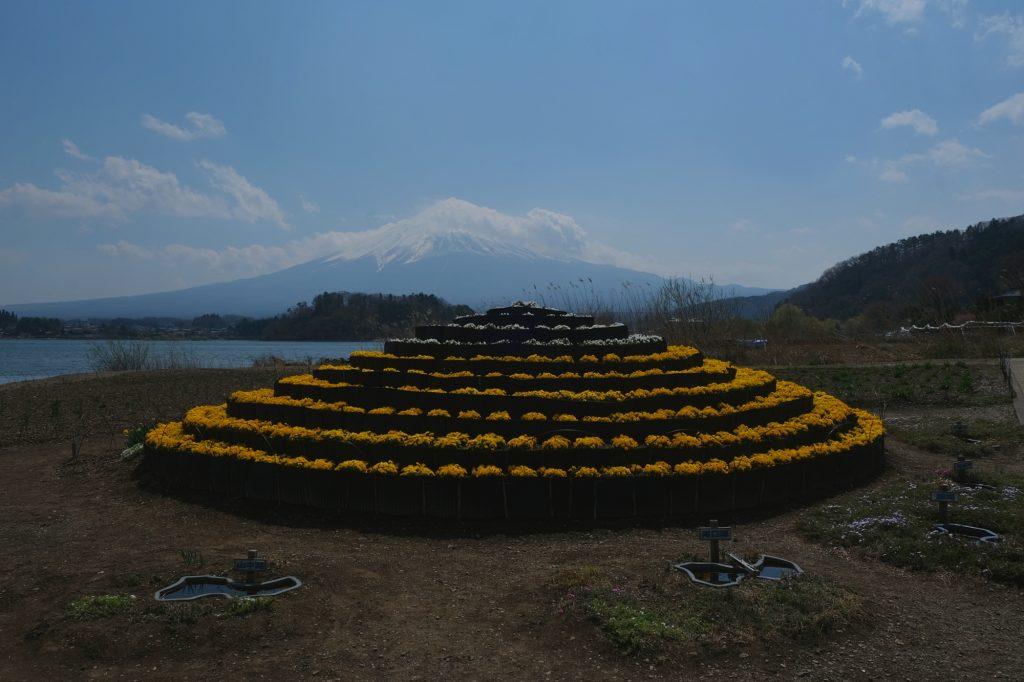 Représentation du Mont Fuji et de ses lacs