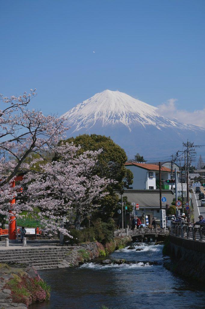 Le mont Fuji et la rivière de Fujinomiya