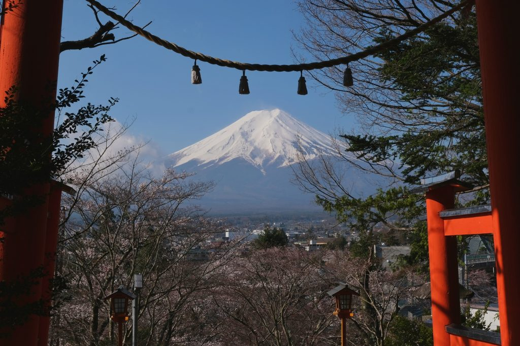 Le mont Fuji et le torii de Arakurayama
